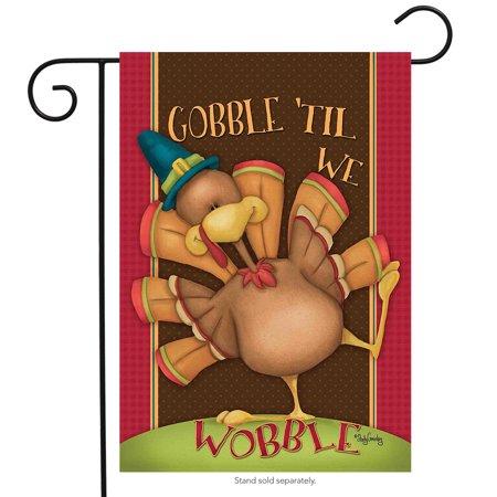 Gobble Til We Wobble Thanksgiving Garden Flag Humor 12.5