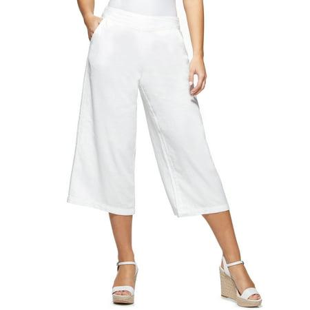 Sofia Jeans by Sofia Vergara White Crop Wide Leg Pants, Women's Wide Leg Trouser Jean
