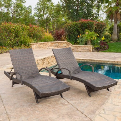 Stratford Outdoor Wicker Adjustable Chaise Lounge With ...