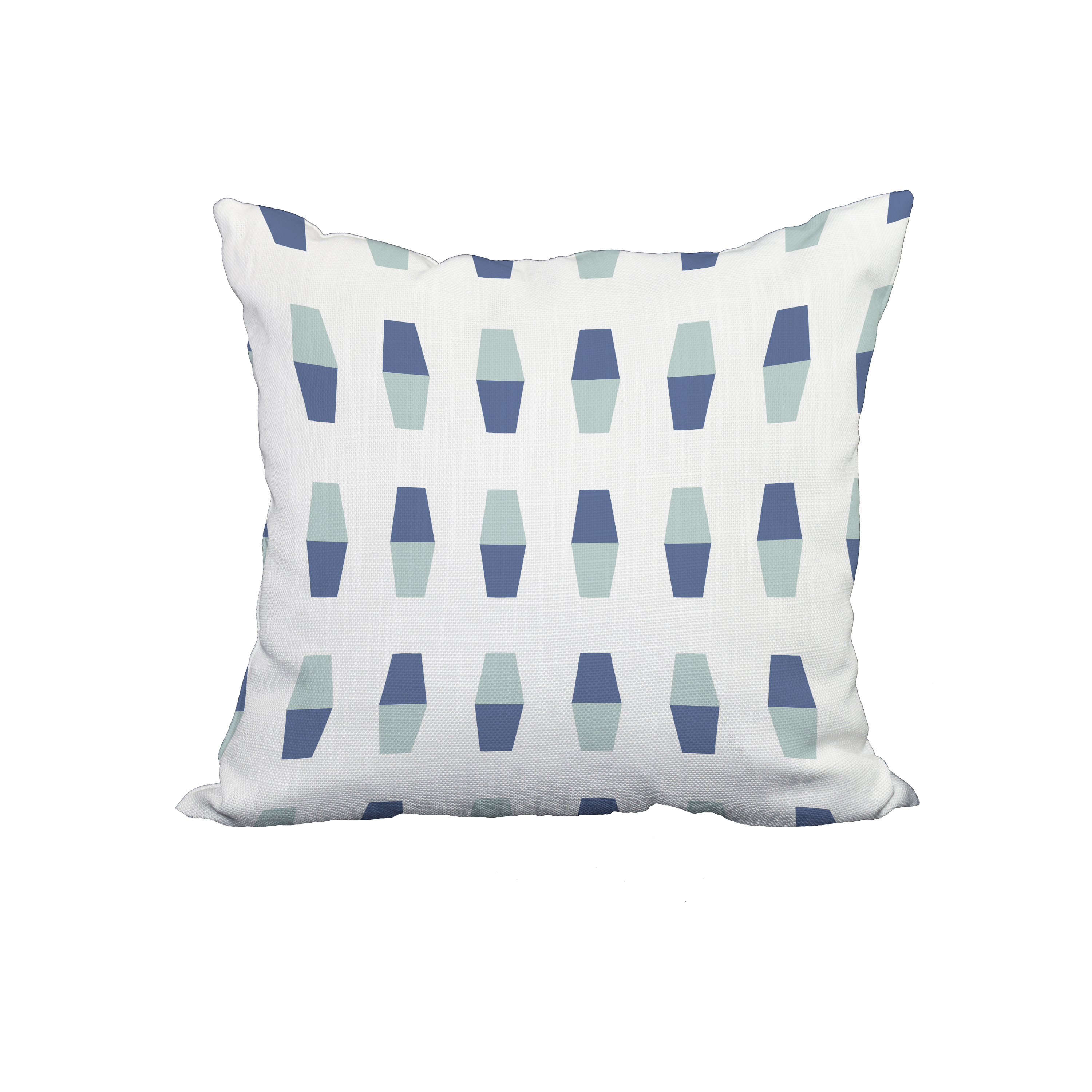 18 x 18 Inch Bowling Pins Navy Blue Geometric Print Decorative Polyester Throw Pillow with Linen Texture
