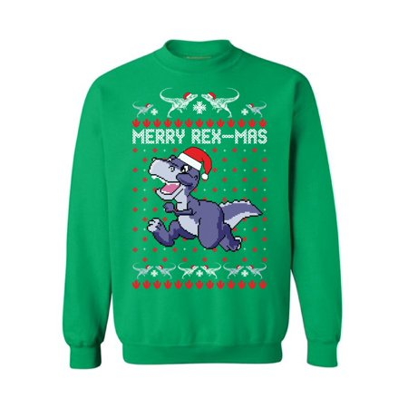 Awkward Styles Merry Rex-Mas Sweatshirt Christmas Dinosaur Sweater Women's Ugly Christmas Sweater Funny Dinosaur Xmas Sweatshirt for Men Merry Rexmas Xmas Outfit Christmas Party Gifts for Him and Her (Ugly Sweater Outfits)