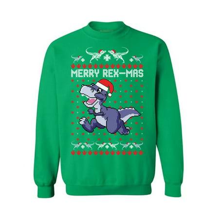 Awkward Styles Merry Rex-Mas Sweatshirt Christmas Dinosaur Sweater Women's Ugly Christmas Sweater Funny Dinosaur Xmas Sweatshirt for Men Merry Rexmas Xmas Outfit Christmas Party Gifts for Him and Her ()