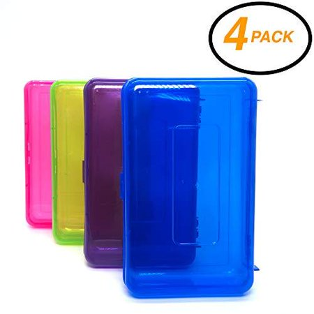 Emraw Utility Storage Box - Bright Color Multi Purpose Pencil Box for School Supplies Durable Plastic Pencil Box, Small Plastic Pencil Case, Mini Organizer Storage Box (Random 4-Pack)