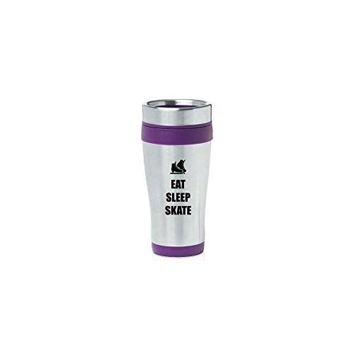 Purple 16oz Insulated Stainless Steel Travel Mug Z1839 Eat Sleep Skate Ice Skates,MIP by