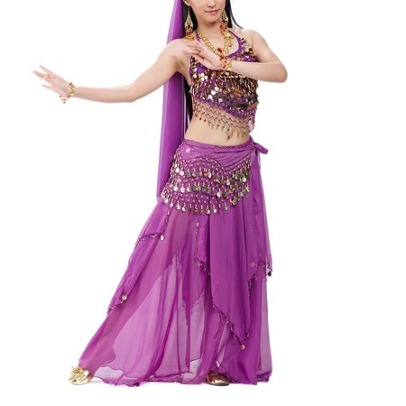 BellyLady Halloween Belly Dance Costume, Halter Bra Top, Hip Scarf and