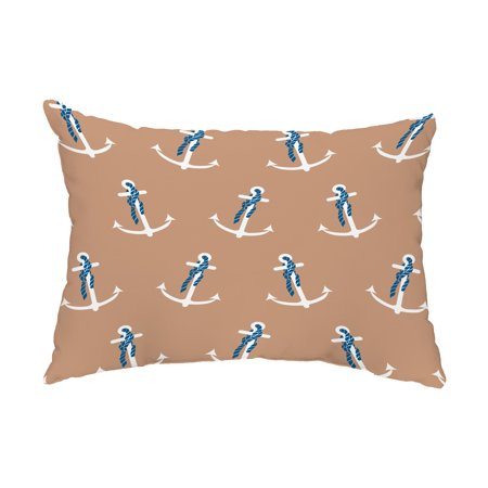 Anchor Whimsy 14x20 inch Taupe Decorative Nautical Outdoor Pillow ()