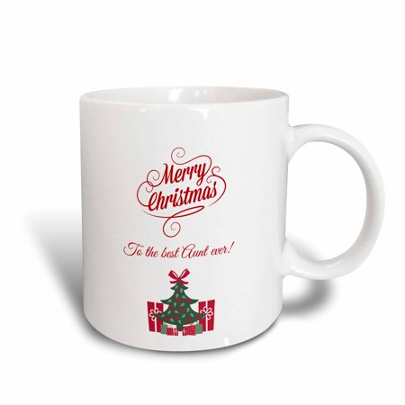 3dRose Merry Christmas to the best aunt ever, Ceramic Mug, (Merry Christmas And Best Wishes)