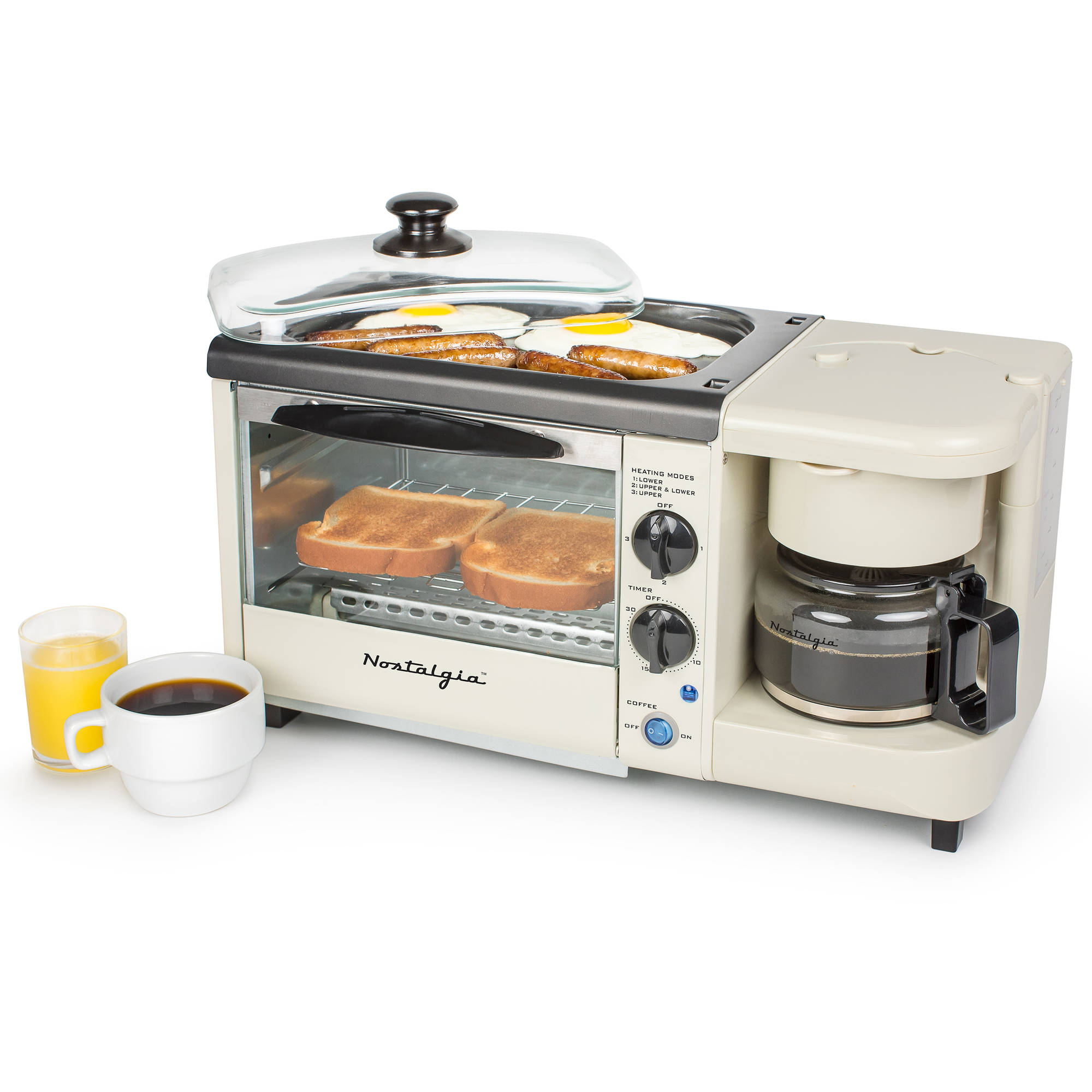 Nostalgia BSET100BC Breakfast Station Toaster, Griddle and Coffee Maker