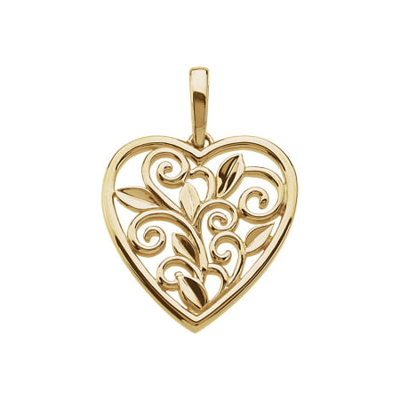 Jewels By Lux Scroll & Leaf Design Filigree Heart Pendant