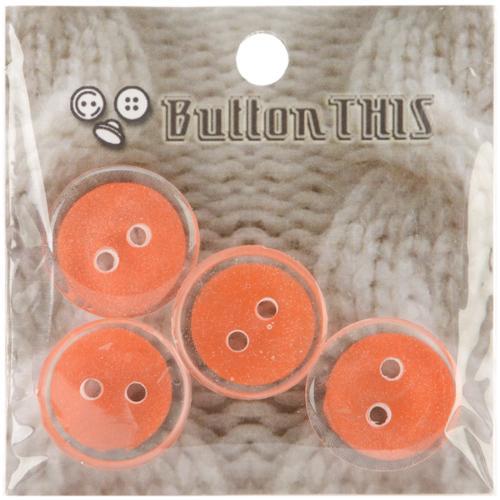 """ButtonTHIS Solid Color Buttons 1"""" 4/Pkg-Pastel Orange"""