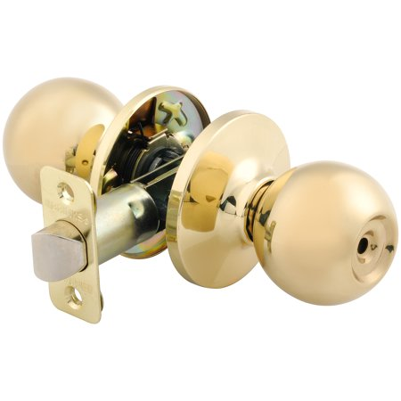 Camaro Door Lock Knobs - Brink's Bed and Bathroom Privacy Tulip Style Door Knob Lock, Polished Brass