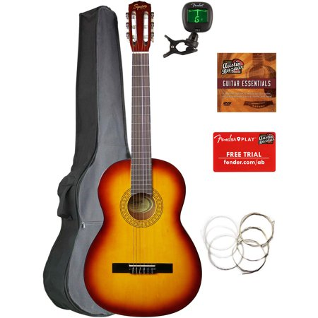 Fender Squier Classical Acoustic Guitar - Sunburst Bundle with Gig Bag, Tuner, Strings, Fender Play Online Lessons, and Austin Bazaar Instructional DVD ()