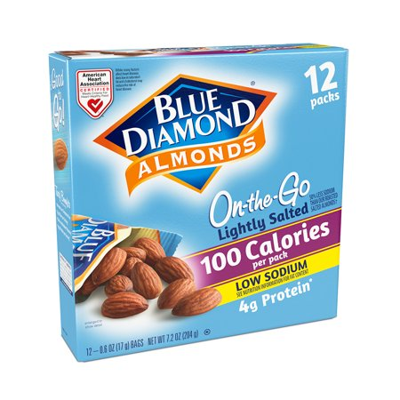 Blue Diamond Almonds On-the-Go 100 Calorie Pack Lightly Salted Almonds, 0.6 Oz., 12 Count 100 Calorie Snack Pack