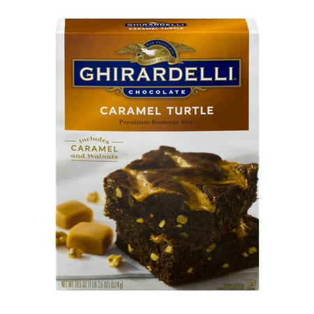 (4 Pack) Ghirardelli Chocolate Caramel Turtle Brownie Mix, 18.5 oz (Ghirardelli Vanilla Hot Chocolate)