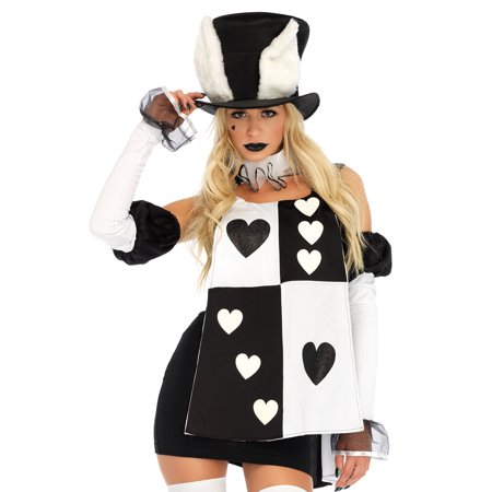 Leg Avenue Womens 4 PC Wonderland White Rabbit Costume (White Rabbit Halloween Costume Alice Wonderland)