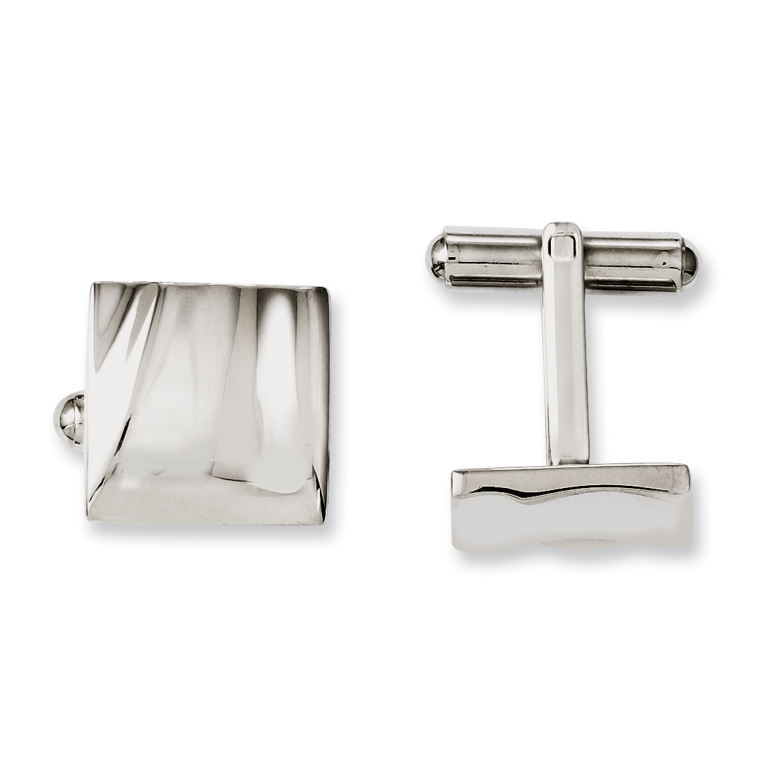 Roy Rose Jewelry Stainless Steel Polished Concave Cuff Links
