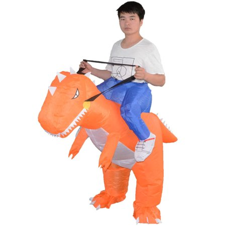 Funny Inflatable Cosplay Dinosaur Costume Toy Dinosaur Jumpsuit Clothing Halloween Parents-child Campaign Costumes Gift Color:Orangeadult inflatable dinosaur Size:free size