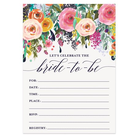 Bridal Shower Invitations with Envelopes ( Pack of 50 ) Beautiful Fill-In Floral Wedding Shower Party Invites Excellent Value Invitations VI0040