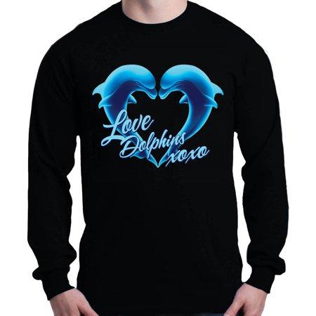 Dolphin Long Sleeve Tee (Shop4Ever Men's Love Dolphins XOXO Blue Dolphin Heart Long Sleeve Shirt)