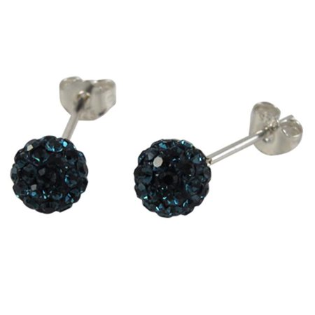 Dlux Jewels Sterling Silver Midnight Blue Crystal 8 mm Post Earrings - image 1 de 1