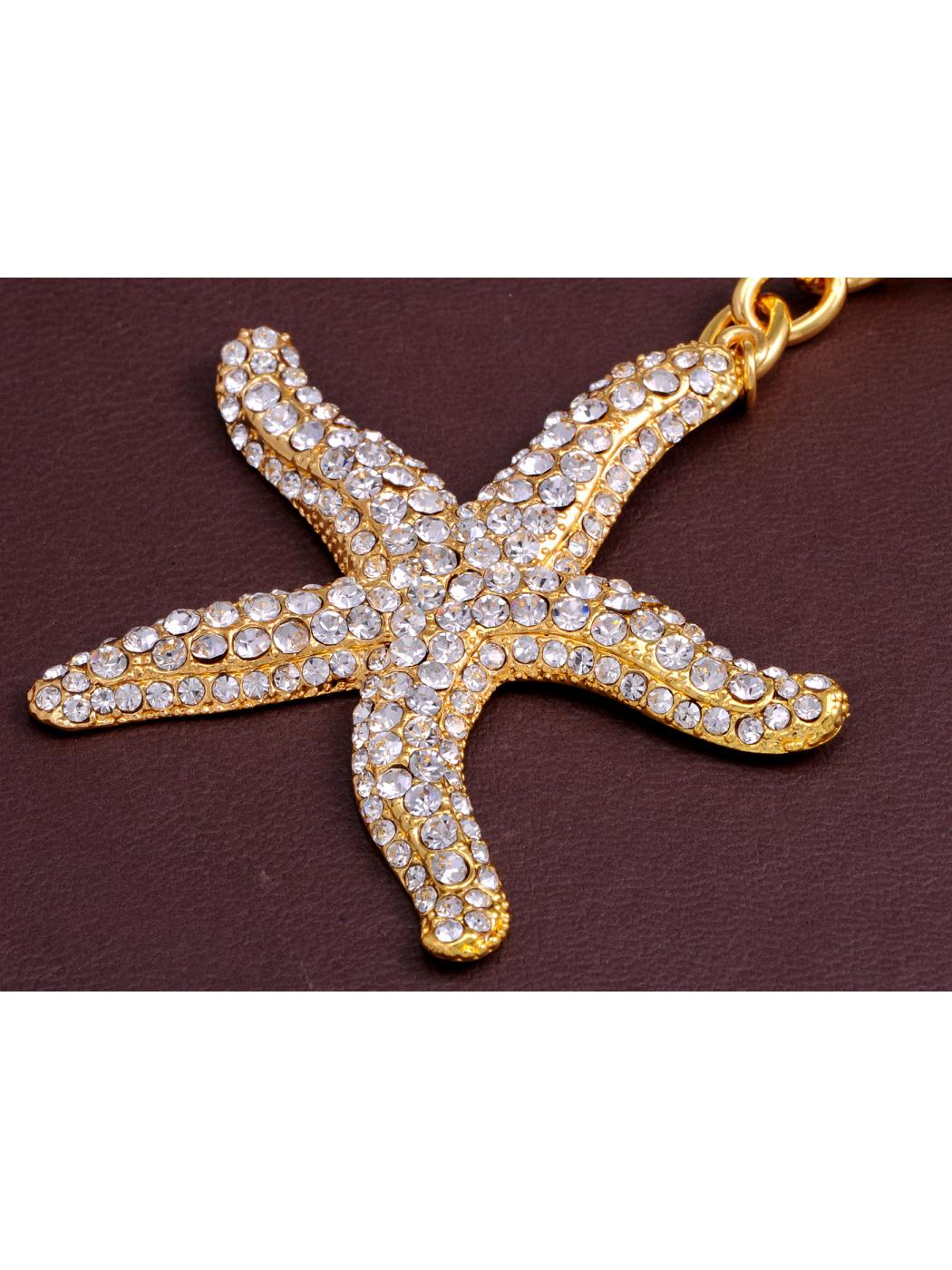 Gold Tone Crystal Rhinestone Pacific Coast Ocean Sea Starfish Star Hook Keychain