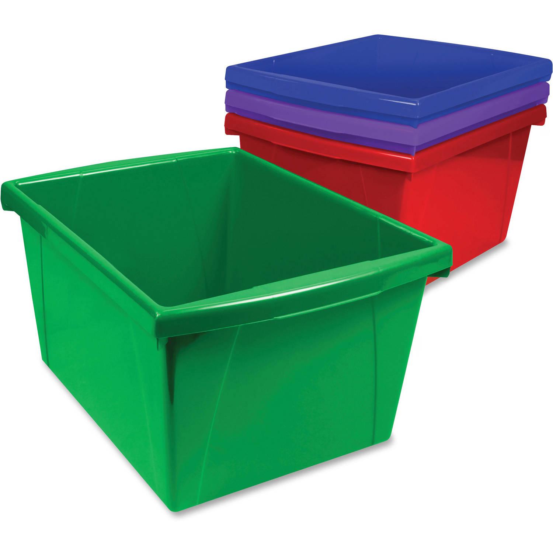 Storex Storage Box, Set of 4, Assorted Bright