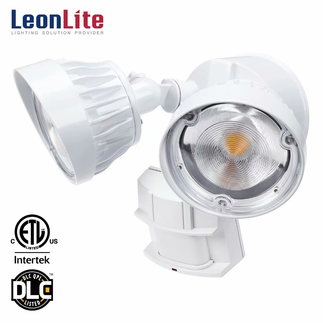 LEONLITE 30W Dual-Head Motion Activated LED Security Light with Photocell, 200W Equiv. 3300lm Waterproof Outdoor Floodlight, ETL & DLC Certified, 3000K Warm White, 5 YEARS WARRANTY, White