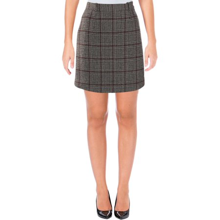 Carven Womens Wool Plaid Mini Skirt Black-Ivory 36