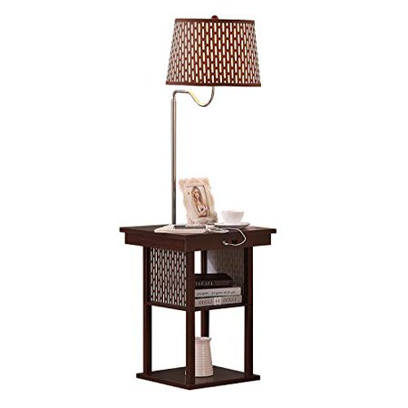 Brightech Madison - Mid Century Modern Nightstand, Shelves & USB Port Combination - Bedside Table with LED Floor Lamp Attached - End Table for Living Room Sofas -
