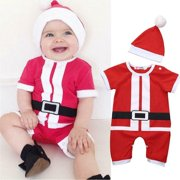 Newborn Baby Girl Boy Christmas Costume Santa Claus Hat+Romper Clothes Outfits Red 95