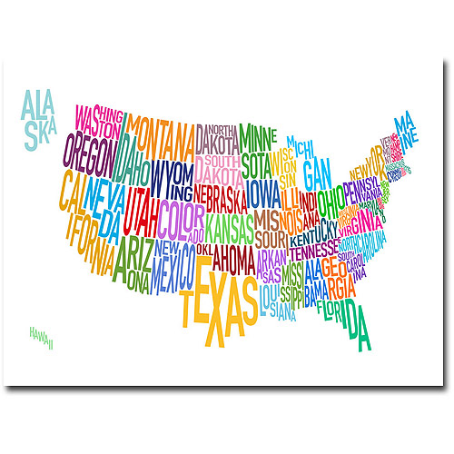 United States Map Canvas Wall Art.Trademark Art United States Text Map Canvas Wall Art By Michael