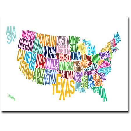 Trademark Art United States Text Map Canvas Wall Art By Michael - Us map canvas wall art