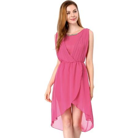Ladies Elegant Pleated Detail Fake Diamond Chain Decor Dress Fuchsia XS (Daisy Chain Dresses)