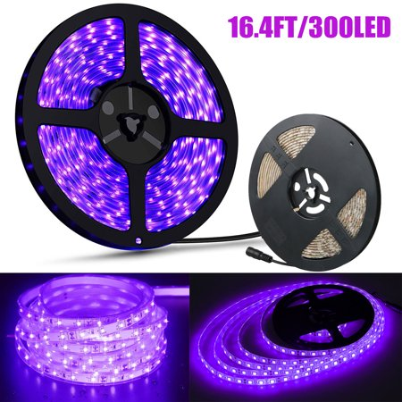 16.4Ft/5M 3528 60LEDs Flexible Cuttable Waterproof Ultraviolet UV Back Light Strip for Christmas Xmas Wedding Curtain Room Apartment Decoration Birthday Party