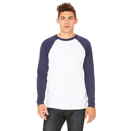 Branded Bella + Canvas Mens Jersey Long Sleeve Baseball T-Shirt - WHITE/ NAVY - M (Instant Saving 5% & more)