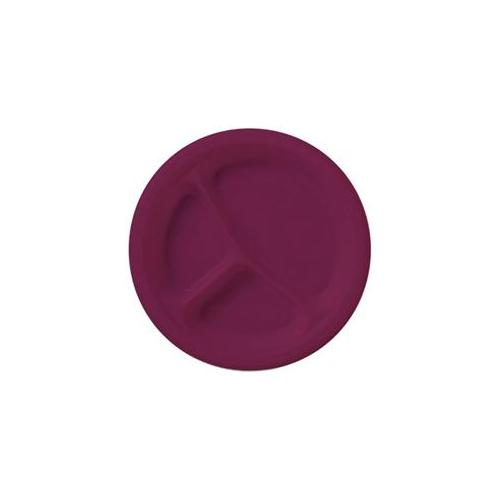 Creative Converting 209001 Burgundy Plastic Divided Dinner Plates