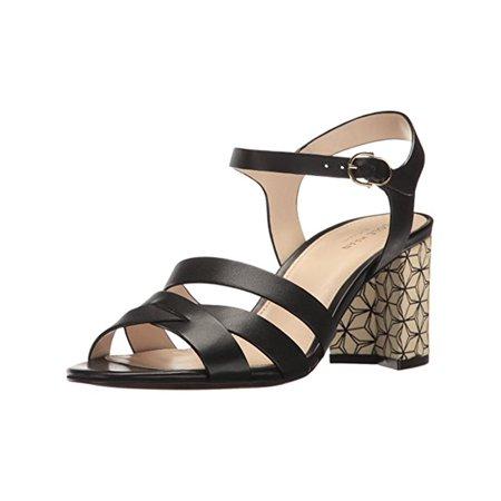 Cole Haan Womens Jianna Open Toe Strappy Block Heels Black 10 Medium