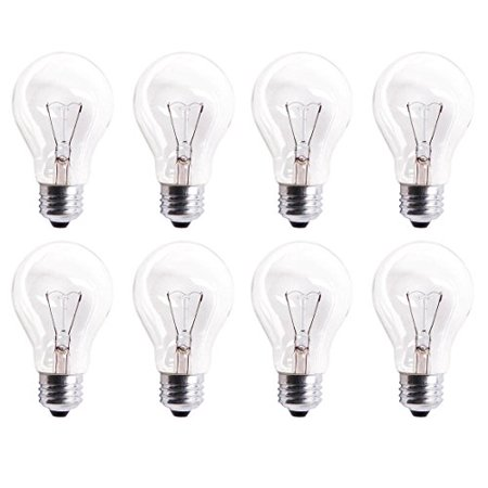 Pack Of 8 60A19/CL 560 Lumens 60 Watt Standard Household A19 E26 (Medium) Base Crystal Clear Incandescent Rough Service Light - White Incandescent Eiko Light Bulb