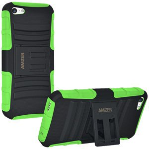 ShockProof Dual Layer Case Soft Silicone Skin Hard Shell Stand Cover for iPhone 5C - Black/ Green ()