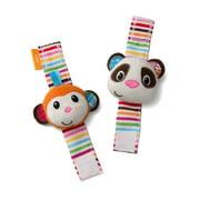 Infantino See Play Go Wrist Rattles, Monkey and Panda
