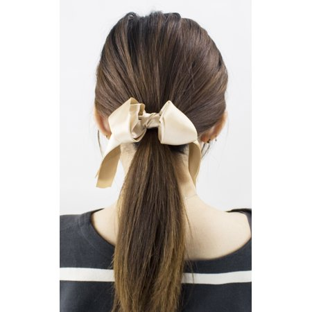 Stylish Womens Girls 2 Layers Satin Ribbon Bow Hair Band Hair Tie (2 Pack, Khaki)