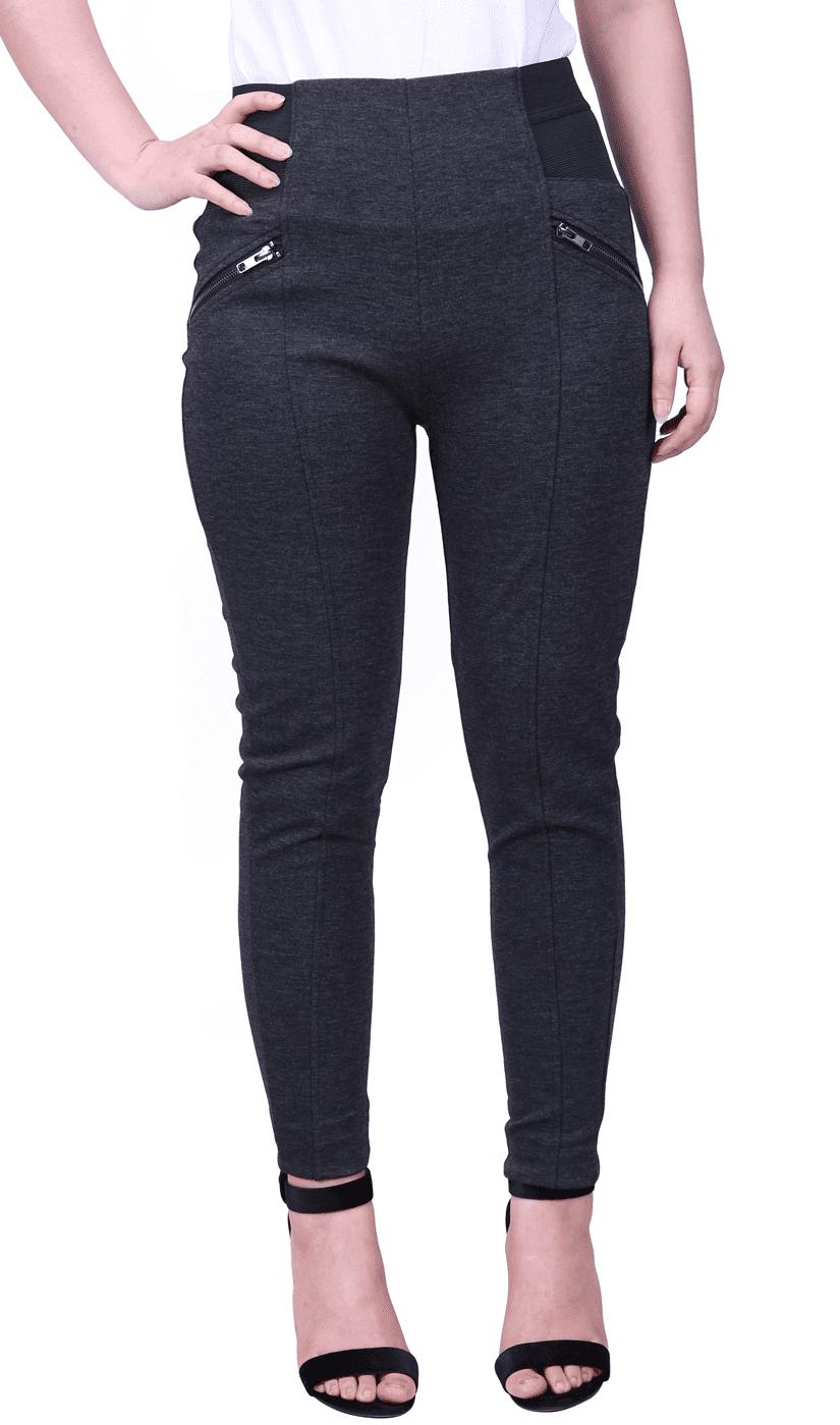 HDE Womens Plus Size Slimming Dress Pants Pull On Skinny Work Trousers  (Black, 1X)