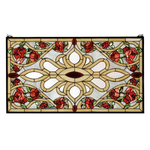 Meyda Tiffany 67139 Stained Glass Tiffany Window from the Red Roses Collection