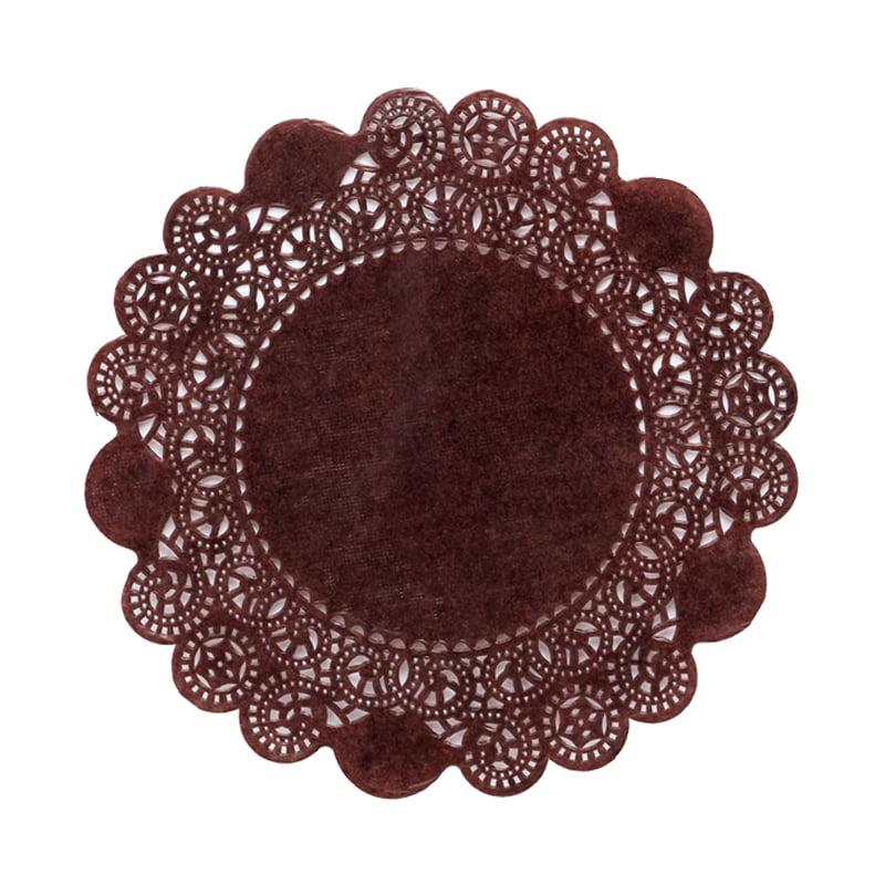 "250ea - 4"" Brown Glassine Paper Doilies by Paper Mart"