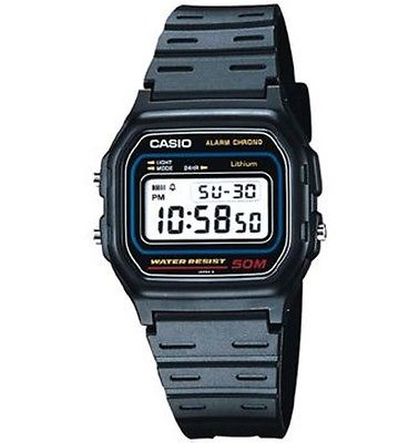 Casio W59-1 Men's Resin Band 50M Water Resist Chronograph Alarm Digital Watch
