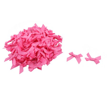 Home Birthday Polyester Clothes Coat Scrapbook Ornament Bowknot Bow Pink 100pcs
