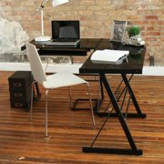 Kingfisher Lane Corner L Shaped Glass Top Computer Desk in Black