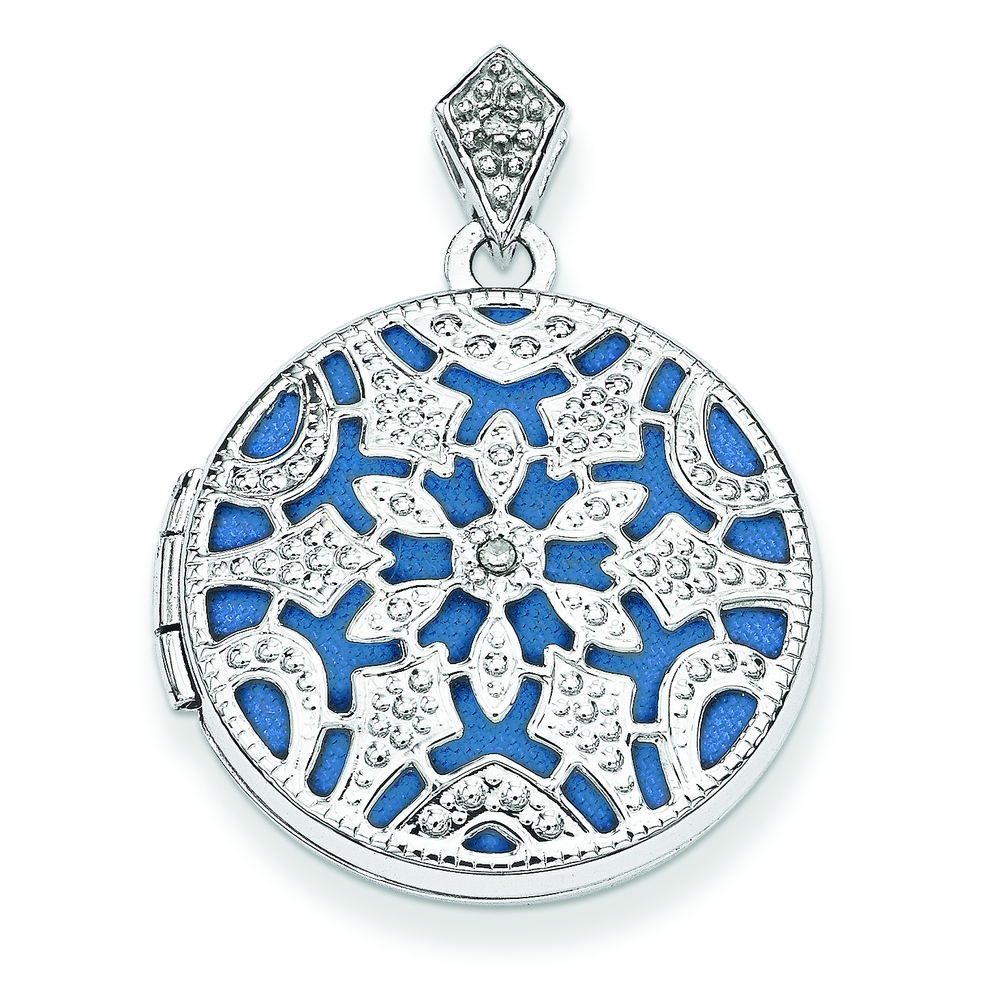 Sterling Silver 20mm Round with Diamond Vintage Locket by Generic