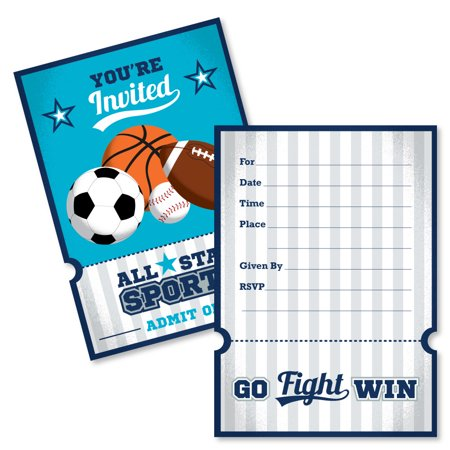 Go, Fight, Win - Sports - Shaped Fill-In Baby Shower or Birthday Party Invitation Cards with Envelopes - Set of 12 - Sports Party Invitations