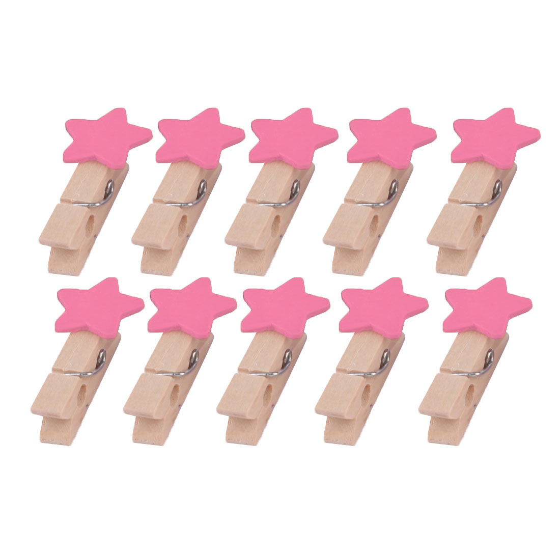Home Wooden Star Shaped DIY Craft Photo Picture Post Card Decor Clip Pink 10pcs